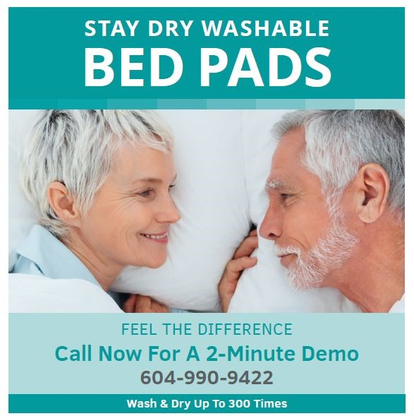 Image of graphic with two people on it and STAY DRY WASHABLE BED PADS text on it