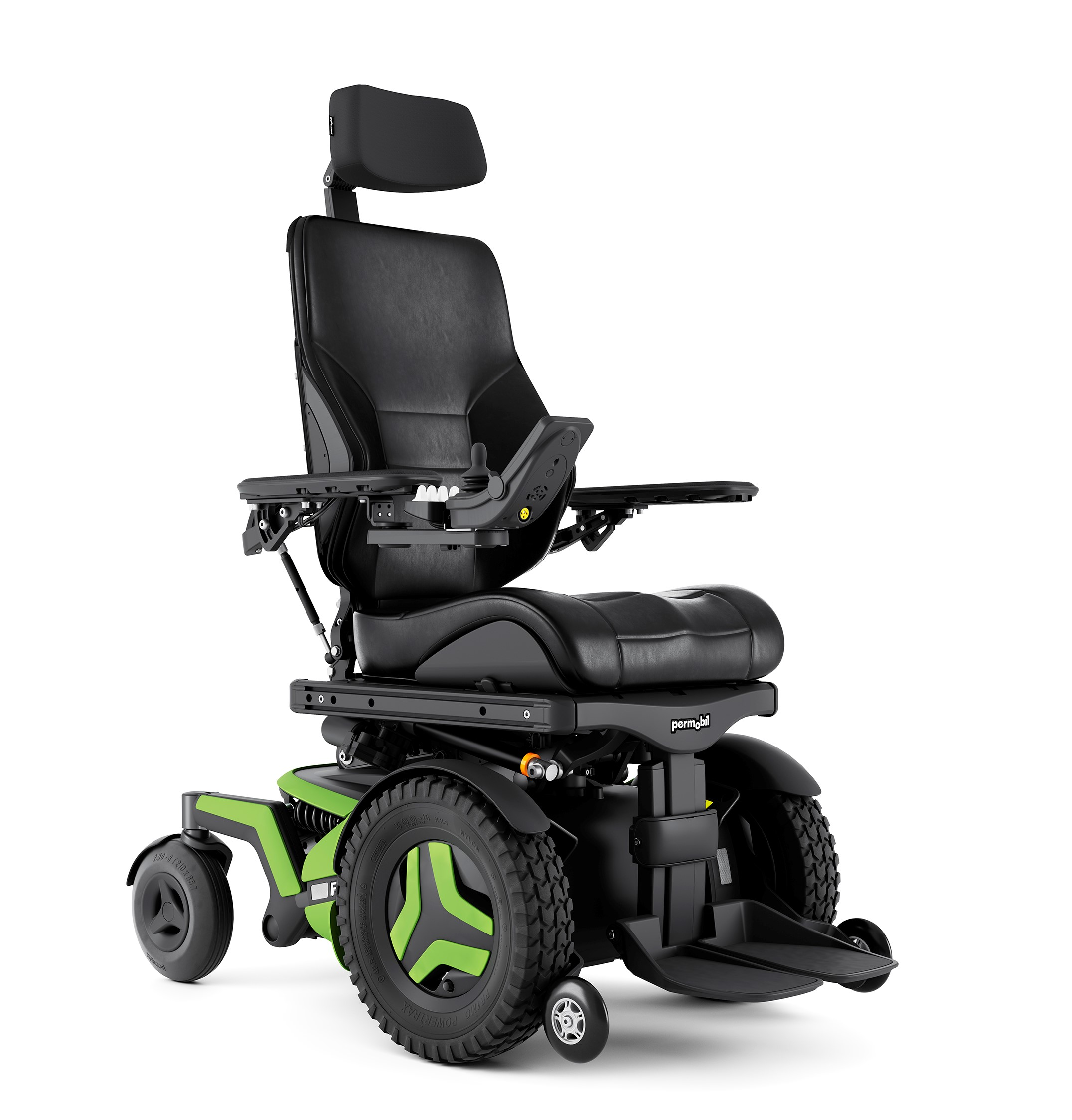 The F3 Corpus is shown at an angle. It has bright green accents and black rehab seating.
