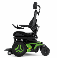 The F3 Corpus is shown from the side. It has bright green accents and black rehab seating, including a headrest. thumbnail