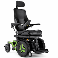 The F3 Corpus is shown at an angle. It has bright green accents and black rehab seating. thumbnail