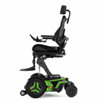 The Corpus F3 chair with bright green accents is shown from the side. It is elevated using optional ActiveHeight. It has black rehab seating and a black headrest. thumbnail